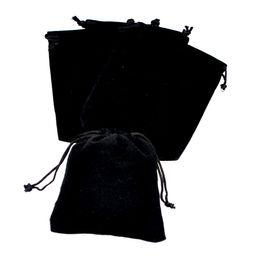 Wholesale Small Velvet Jewelry Pouches - Black Velvet Bag 10x12cm Small Jewelry Bags Gift Pouches Drawable Velvet Wedding Christmas Bags Packaging Bag 50pcs lot