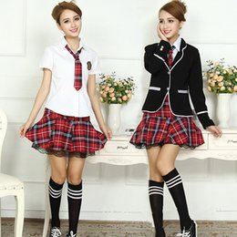 Wholesale Korean Long Sleeves For Girls - Classic Plaid Student Uniform Pleated Skirt Set Lace Decoration Long-sleeve Korean Japanese School Uniform for Girls 4 Piece Set