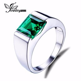 Wholesale Russian Sterling - Wholesale-Feelcolor Nano Russian Green Emerald Engagement Wedding Ring For Men Genuine 925 Sterling Sliver Gem stone Fine Jewelry 2015 New