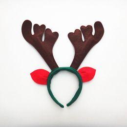 Wholesale reindeer christmas costume - New Reindeer Antlers Headband Cute Deer Elk Horn Headdress For Children Adults Christmas Party Costume Decor ZA5071