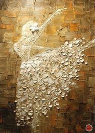 """Wholesale Dance Oil Painting Canvas - 20""""x28"""" Pure Hand-painted Abstract Oil Painting Ballerina Dance Free shipping!"""