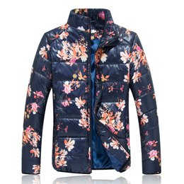Wholesale Korean Style Jackets For Men - Fall-Man's Winter Coats 2015 Cotton Plus Size 5XL Print Stand Collar Fashion Outwear For Man Casual Warm Mens Jackets Korean Style