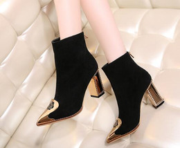 Wholesale Thick Low Heel Boots - Thick and short boots female spring and autumn fashion metal pointed matte leather high-heeled bare 40 Martin boots 33