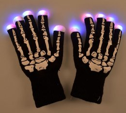 Wholesale Light Up Gloves Fingers - New Fashion Creative LED Halloween Skeleton Gloves Light Up Flashing Finger Lighting Glow Hip-Hop Style CC716