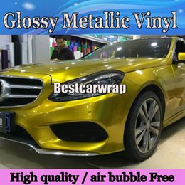 Wholesale yellow gloss - Glossy Metallic Yellow   gold Vinyl Wrap Air Release Full Car Cover candy yellow car Styling Gloss wrapping Size:1.52*20M Roll 4.98x66ft