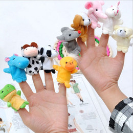 Wholesale Plush Talking - Even Mini Animal Finger Baby Plush Toy Finger Puppets Talking Props 10 animal group Stuffed Plush Animals Stuffed Animals Toys Gifts Frozen