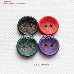Wholesale Sewing Buttons Purple - (4colors,100pcs) Flower Wooden Button Scrapbook Kid's Sew Button Black Purple Green Red 20mm-BY0255