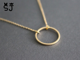 Wholesale Karma Circle - 5PCS Gold Silver Simple Dainty Circle Necklace Open Circle Outline Necklace eternity karma circle round necklace jewelry