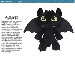 Wholesale Toothless Dragon Puppet Toy - How to Train Your Dragon Toothless Night Fury Plush Doll Soft Stuffed Toy 30CM Kids Christmas Gifts New 1230#30