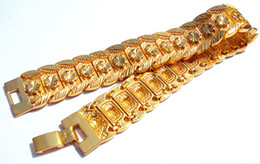 2019 bracelet jaune solide FINE LOURDE! 33g HOMME 18K YELLOW GOLD REAL BRACELET MONTRE SOLIDE MONTRE CHAÎNE 9inch FREE SHIPPING GIFT Contenant environ 30% ou plus d'un alliage bracelet jaune solide pas cher