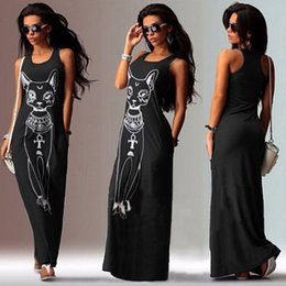 Wholesale New Arrival Dresses Cartoon - New Arrivals Women's Summer Long-eared Cat Print Sexy Long Maxi Dresses For Women Black Fashion Cartoon Printed Sleeveless Slim Dress XXL