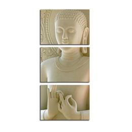 Wholesale 3 Panneau Moderne Bouddha Peinture Art Marbre Blanc Bouddha Vertical Formes Impression Sur Toile Décoratif Figure Image Moderne Mur Art Peintures
