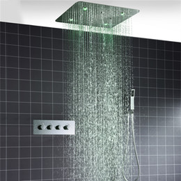 Wholesale Concealed Lights - 20 '' LED Light Ceiling 2mm Shower Set SPA Spray Concealed Embedded Into Wall Embedded Thermostat Shower System Faucets Waterfall Rainfall