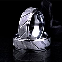 Wholesale Rings For Friends - (50pcs) BC Fashion jewelry 8mm Wide Silver Plated Stainless Steel biker Middle Finger Frosted Ring for Men Women Friend Gift BC-234