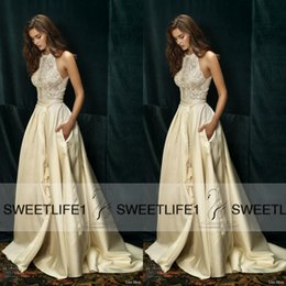 Wholesale Black White Dolce Dress - A Line Lihi Hod Crew Neck Lace Wedding Dresses Sexy Sleeveless Dolce Vita Garden Bridal Gowns with Pockets High Quality Vintage