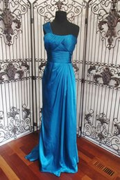 Wholesale Teal One Shoulder Long Dress - Teal One Shoulder Satin Bridesmaid Dresses with Pleated Top Draped Back Blue Evening Gowns for Women