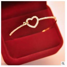 2019 diamante de ouro coreano Braceletes de trevo coreano Opal Bracelete de diamante completo Atacado Pulseira de coração de coração Bracelete desconto diamante de ouro coreano