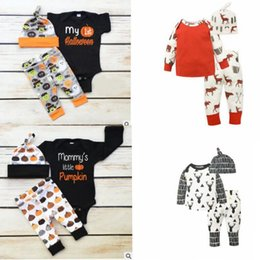 Wholesale Deer Hats Children - children Halloween outfits pumpkin Christmas deer printing ins Outfit Clothes Set Romper Jumpsuit romper Pants Hat 3pcs 1set KKA2418