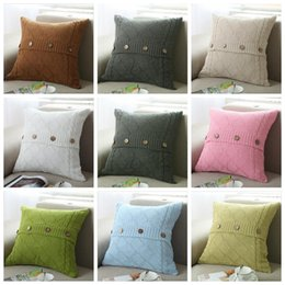 Wholesale Home Decorative Gifts - 17 colors Pillow Cover Button Knitted Twist Decorative Cable Knitting Patterns Cushion Cover Square Pillow Case 45X45CM Xstmas Gifts YYA899