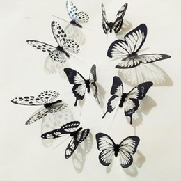 Wholesale Indoor Wedding Decor - New 18pcs Black White Crystal Butterfly Sticker Art Decal Home Decor Wall Mural Stickers DIY Decal Christmas Wedding Decoration Gift