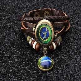 Wholesale Brazil Weave - Fashion Brazil Flag Pendant unisex 8 color Retro Quartz Casual Weave Leather Bracelet WRAP Lover's Wristwatch