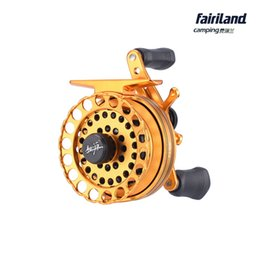 Wholesale Ice Fishing Bait Wholesale - 6pcs Lot 65mm(2.56in) 5BB 2.6:1 golden metal raft fishing reel fly ice fish reel Left Right handed fishing tackle