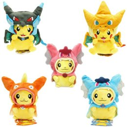 Wholesale Styling Doll - 9 Inch Poke Figures Plush Dolls Toys 25CM 7 Styles Children Pikachu Charizard Slowpoke Poke Ball Plush Dolls Toy Cloak Pikachu YC8055