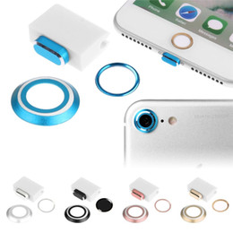 Wholesale Iphone Lens Set - 4 In 1 Set Camera Lens Protector Ring Case & Touch ID Support Home Button sticker & Cable protector & Anti Dust Plug Set For iPhone 7 Plus