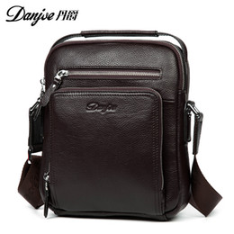 Wholesale Leather Ipad Messenger - Brand Genuine Leather Men's Messenger Bags Cow Skin Shoulder Bag designer Crossbody bag high quality real leather bag for Ipad