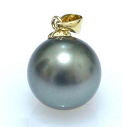Wholesale 16mm Pearl Pendant - Wholesale free shipping---2016 new HOT Huge AAAA+ 16mm BLACK South Sea Shell Pearl 14K GOLD PENDANT