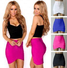 Wholesale Casual Asymmetrical Skirts - 2016041535 New Women's Mini Skirt Fitted Wiggle Skirt Asymmetrical Hem Bandage Party Skirt