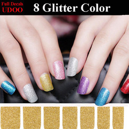 Wholesale Sticker Golden Nail - 6PCS lot 8 Mix Styles Glitter Powder Full Nail Art Sticker Letter Red Purple Pink Golden Silver Blue Green colors Nail Decals