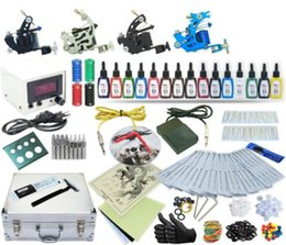 Wholesale Complete Tattoo Guns - Complete Tattoo Kit 4 Machines Gun Power Supply 15 Color Inks TK-20 (Black case)