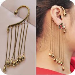 Wholesale Skull Earrings Tassel - Hot Gothic Punk Skull Purl Ear Cuff Chain Tassels Dangle Clip Earring NO PIERCING