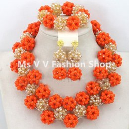 Wholesale Jewellery Beads Free Shipping - 2016 Nigerian Wedding African Beads orange gold Jewellery Set Full Beads Chunky Bib Women Party Jewelry Set Free shipping