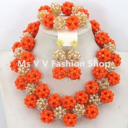 Wholesale Wedding Rhinestone Bib Necklace - 2016 Nigerian Wedding African Beads orange gold Jewellery Set Full Beads Chunky Bib Women Party Jewelry Set Free shipping