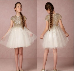 Wholesale Cheap Children Pageant Dresses - Lovely Gold Sequins Short Sleeves Flower Girl Dresses For Weddings Cheap Pageant Gowns Jewel Neck Children Communion Dress Kids Formal Wear