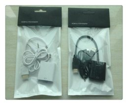 Wholesale Vga Green - Hot New HDMI to VGA with 3.5mm Jack Audio Cable Video Converter Adapter For Xbox 360 PS3 PC