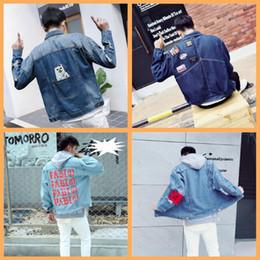 Wholesale Cheap Army Coats - latest wholesale men's winter fashion personality hole denim jacket men's 424 popular cheap cat coat jacket
