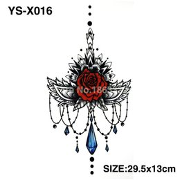 Wholesale Temporary Tattoo Chest - Wholesale- YS-X016 3D DIY Chest Flowers Fall BIG Tattoo Stickers Colorful Hot Flashes Waterproof Tatoo Body Art Temporary TATTOO Sticker