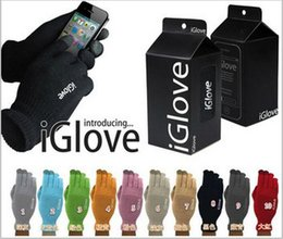 Wholesale Resistive Screen Smart Phones - Retail Package High-end Touchscreen Gloves Unisex Functional iglove Capacitive Iphone 5C 5S 6 Ipad Smart Phone Warm Winter Gloves 2pcs=1pair