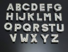 Wholesale Dog Charm Bead - 130Pcs Lot DIY Crystal Slide Letters With Rhinestone Charms For 8mm Pet Dog Collars A-Z Letters DIY Charms