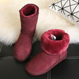 Wholesale High Boots For Kids - 2017 dorp shipping Australia brand Snow boots boy girl real boots, warm children's boots Fashionable boots for Kids 5281