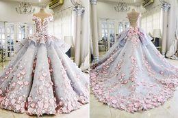 Wholesale 3d Organza Wedding Dress - Mak-Tumang-maktumang organza sweet short sleeve ball gowns Wedding Dresses 3D-Floral Appliques pink lace Luxury Bridal Vestidos De Novia