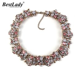 Wholesale Choker Vintage Brand Necklace - Wholesale- Best lady 2016 New Color z Women Big Brand l Gem Necklace & Pendants Vintage Luxury Maxi Statement Necklace Collier 2345
