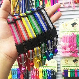 Wholesale Reflective Dog Collars Leashes - Reflective Dog Collars Polyester Fiber Black Buckle Puppy Chaplet Six Colors With Small Bells Pet Leashes Green 0 9sy B