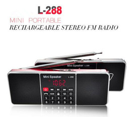 Wholesale Mini Wireless Rechargeable Speaker - L-288 Mini Portable Rechargeable Stereo FM Radio Speaker LCD Screen Support TF Card USB Disk MP3 Music Player Loudspeaker retail