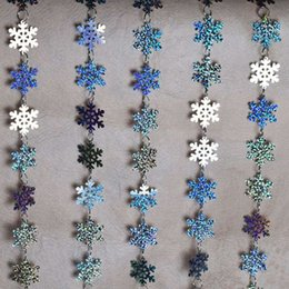 curtain toppers Promo Codes - 5 strands   lot PVC sequins laser snowflake curtain,Christmas party and home decoration