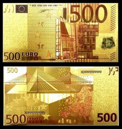Wholesale Unique Live - 7PCS Colorful Europe Money Unique 24k Gold Foil Banknotes Arts Collectible Gifts