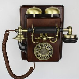 Wholesale Vintage Corded Phones - Vintage style phone appareil Antique wall mounting set telephone fashion wall hanging wall landline telephone fashion dect